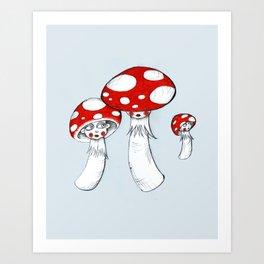 Toadstool Trio Art Print