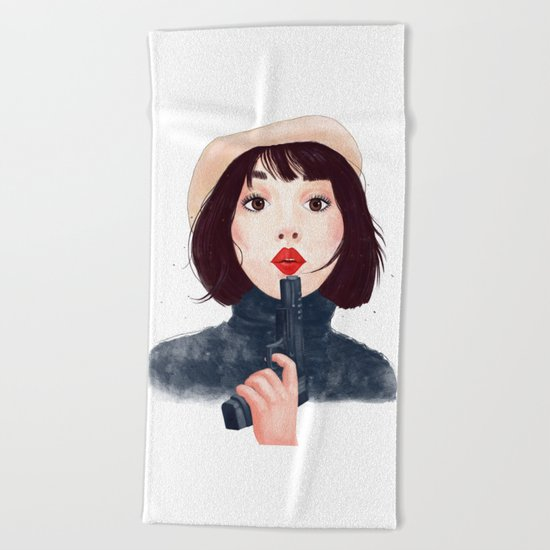 French woman with gun Beach Towel