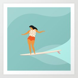 Surf girl Art Print