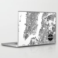 new york map Laptop & iPad Skins featuring New York Map by Maps Factory