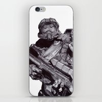master chief iPhone & iPod Skins featuring Master Chief Pen Drawing by DeMoose_Art