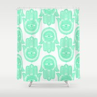 hamsa Shower Curtains featuring Hamsa  by Luna Portnoi