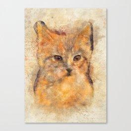 Ginger cat art Canvas Print