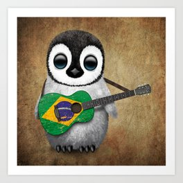 Baby Penguin Playing Brazilian Flag Acoustic Guitar Art Print