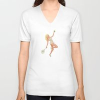 pinup V-neck T-shirts featuring Tennis Pinup by Anthony James Rich