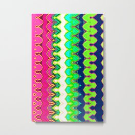Green and Pink Pretty Abstract Carnival Stripe Metal Print