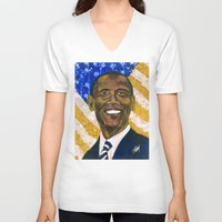 obama V-neck T-shirts featuring Obama by Stan Kwong