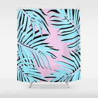 palm Shower Curtains featuring Palm tree by Hanna Kastl-Lungberg