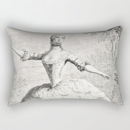 The Dancers, 18th century French ballet woman, black white drawing Rectangular Pillow
