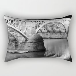 Black white bridge night photography Rectangular Pillow