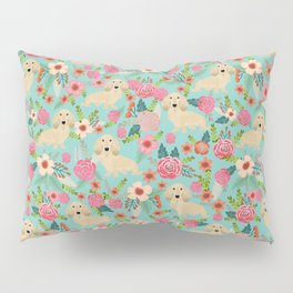 Dachshund longhaired cream doxie floral dog breed pet gift for dachsie lovers must haves Pillow Sham