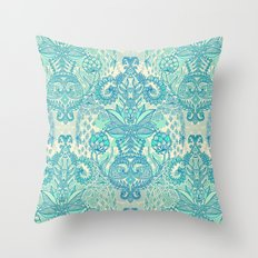 Botanical Geometry - nature pattern in blue, mint green & cream Throw Pillow