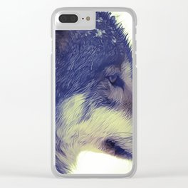 Oil Painting wolf Clear iPhone Case
