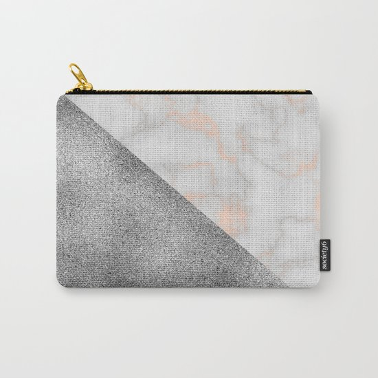 Rose gold marble and silver glitter Carry-All Pouch