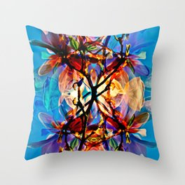 Blue Floral Poetry Throw Pillow