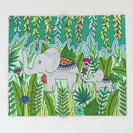 Elephant Mom and Baby Throw Blanket