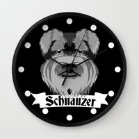 schnauzer Wall Clocks featuring Schnauzer by mailboxdisco