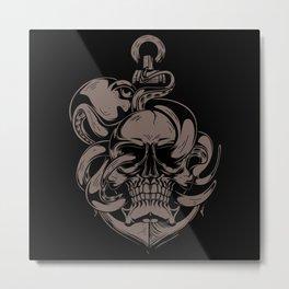 Skull And Octopus   Heavy Metal Metal Print