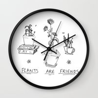 cactei Wall Clocks featuring Plants Are Friends by ☿ cactei ☿