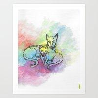 Watercolour cat #6 Art Print