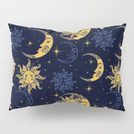 Sun and moon pattern gold and navy Pillow Sham