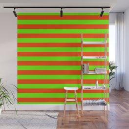 Super Bright Neon Orange and Green Horizontal Beach Hut Stripes Wall Mural