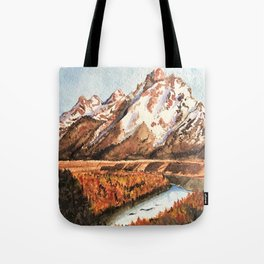 Golden Mountain Autumn Valley Tote Bag