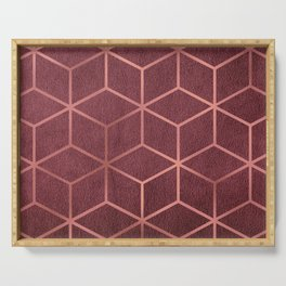 Pink and Rose Gold - Geometric Textured Gradient Cube Design Serving Tray