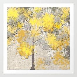 Abstract Yellow and Gray Trees Art Print