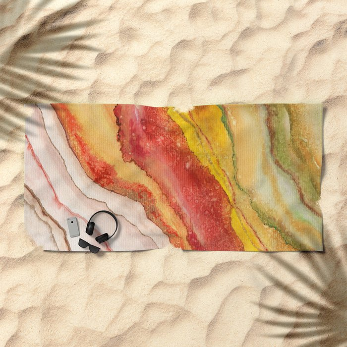 AGATE Inspired Watercolor Abstract 03 Beach Towel