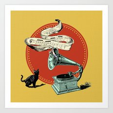 The Cat and the Cat Song (red) Art Print