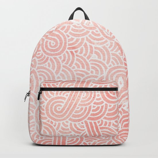Rose quartz and white swirls doodles Backpack