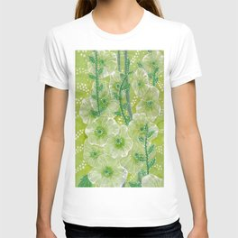Hollyhock Mallows, Summer Flowers, Floral Collage Chartreuse T-shirt