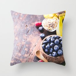 Close-up of fresh fruits and seeds in wooden tray Throw Pillow