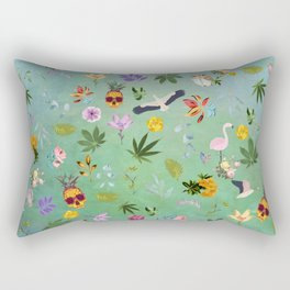 Flamingo Pineapple Pot Leaves Rectangular Pillow