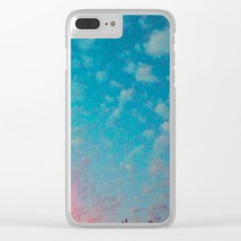 Metro Sky Dreams of Blue and Red Lights Clear iPhone Case