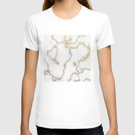 Luxury White Marble With Rich Gold Veins T-shirt