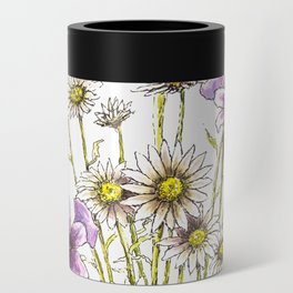 Iris and daisy flowers Can Cooler