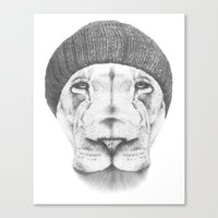 hipster lion Canvas Prints featuring Hipster Lion Drawing  by Brandon Taylor Scott