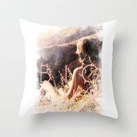 big sur Throw Pillows featuring BIG SUR by TOO MANY GRAPHIX