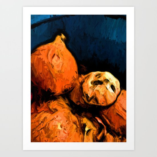Garlic and Orange Onions with some Blue Art Print