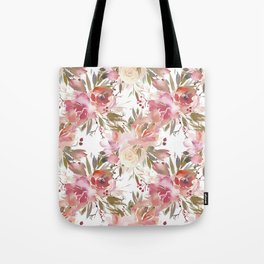 Pastel Pink and Cream Blossom on White Tote Bag