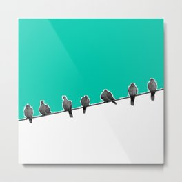 Birds in a Wire Metal Print