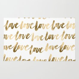 Gold Love Script Rug