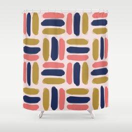 Pink & navy stripes Shower Curtain