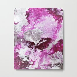 Fuchsia Pink and Silver Abstract Metal Print
