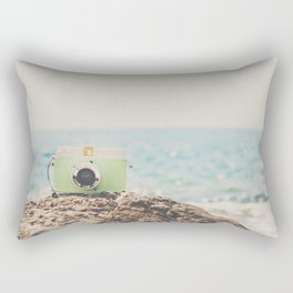 """the """"dreamer"""", a mint green camera with the ocean behind it Rectangular Pillow"""
