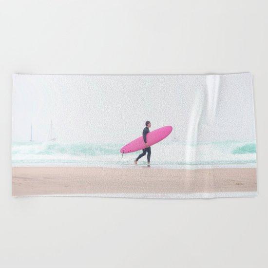 surfing beach vibes Beach Towel