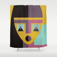 model Shower Curtains featuring Geometric model by FLATOWL