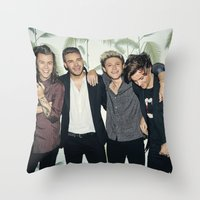 one direction Throw Pillows featuring One Direction by behindthenoise